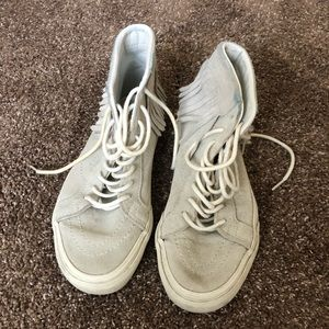 Light grey fringe Vans